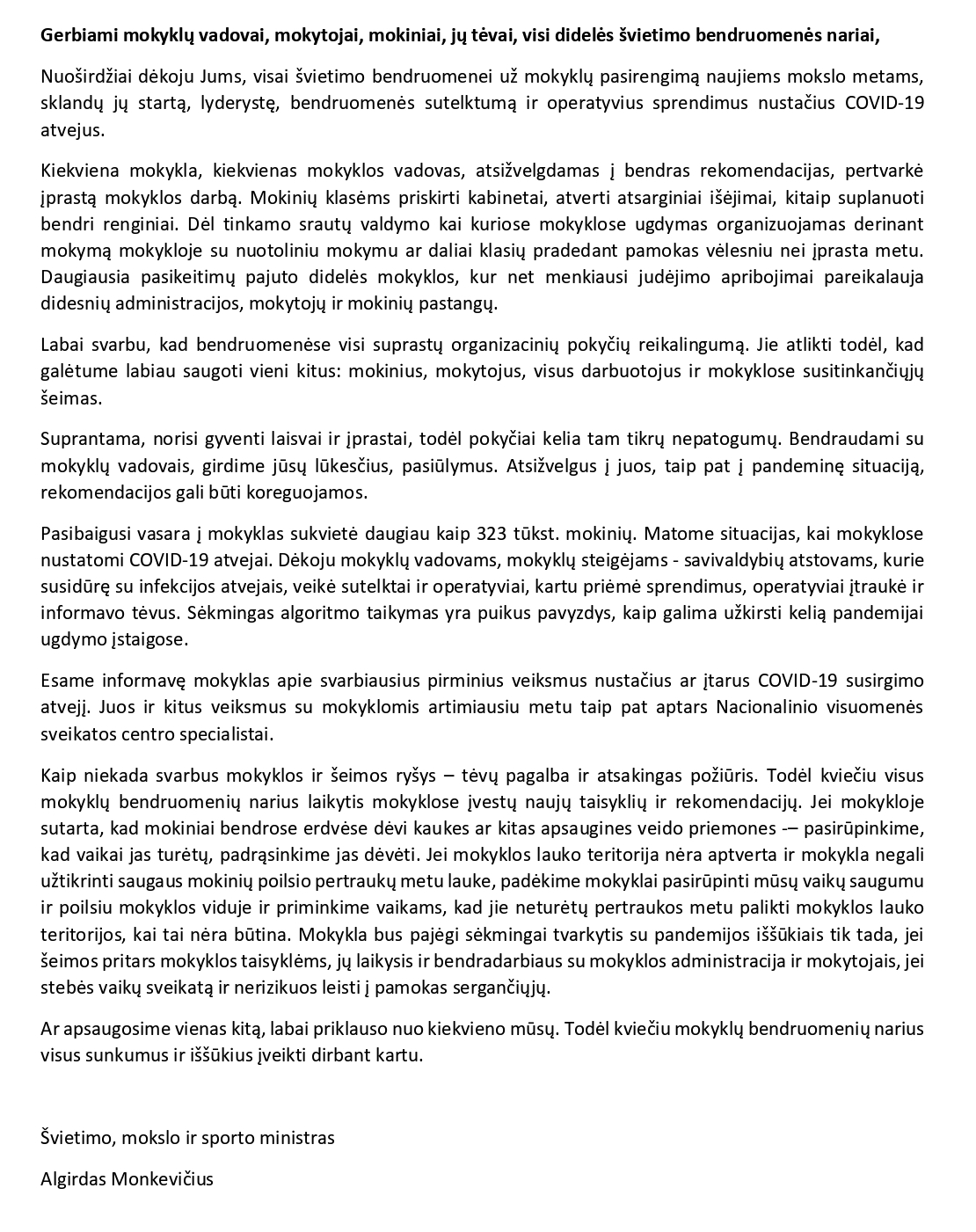 Ministro_kreipimasis_mokykloms